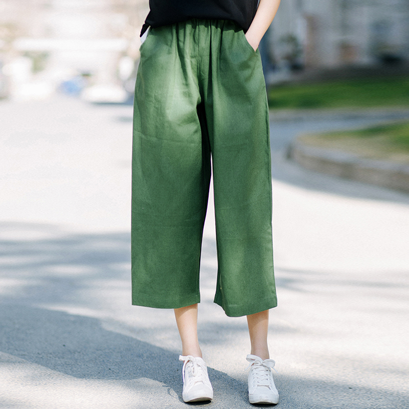 Plus Size Women's Summer Pants Capris High Waist Casual Straight Pant Solid Color Vintage Loose Pants 7Capris Linen Capris L
