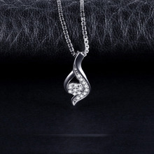 Elegant Flame-Shaped Cubic Zirconia Pendant S925 Sterling Silver Fashion Jewelry For Women Not Include A Chain