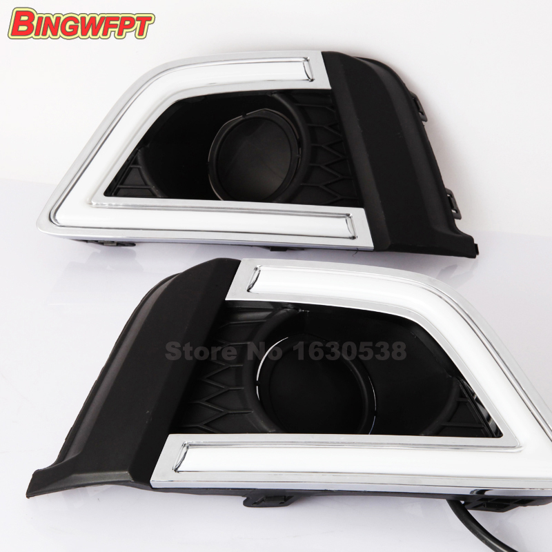 цена на Daytime Running Lights for Honda Jazz US 2016 2017 LED DRL Night driving light Yellow turning signal lights fog lamp cover