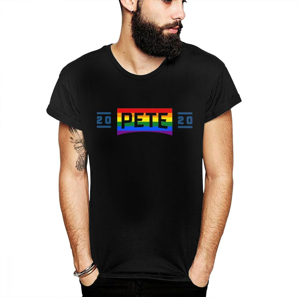 New O-neck <font><b>Pete</b></font> <font><b>Buttigieg</b></font> For President 2020 Lgbt Colors Cool T Shirt For Men Fashion Streetwear Great Cotton Homme Tee Shirt image