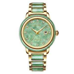 Image 4 - Luxury Real Jade männer Handgelenk Uhren Edelstahl Automatische Mechanische Uhr 30M Wasserdichte Kalender Männer Uhr uhren hombre