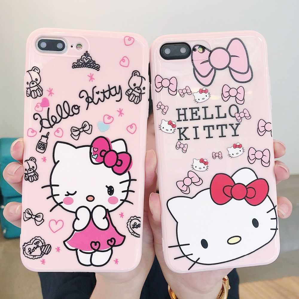 f527da6df Cute Cartoon Hello Kitty Cat Painted Soft TPU For iPhone X XR XS MAX 8 7