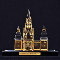 Clock Tower of Kremlin Crystal Handmade Worlds Tallest Building Architecture Model Decoration Figurines Miniatures Souvenir
