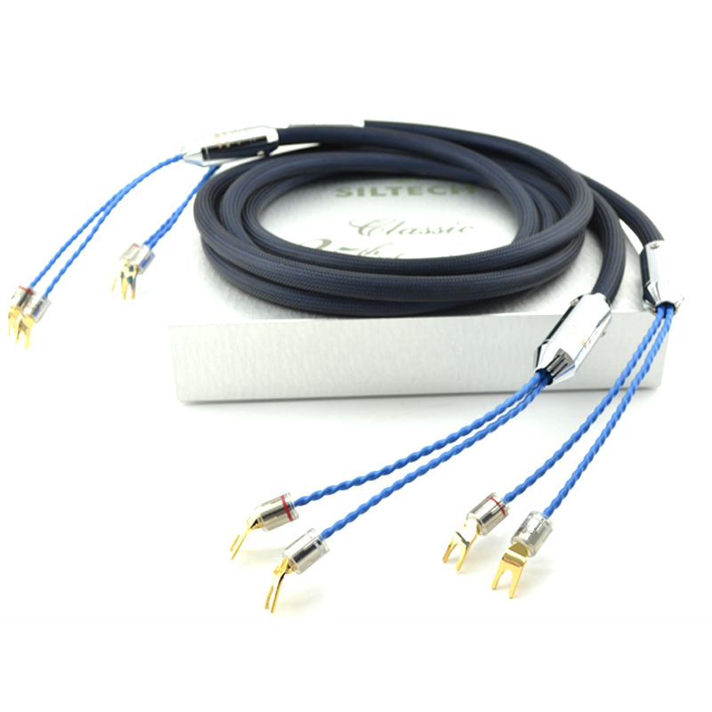 Free shipping moonsaudio 25th Classic Anniversary 770L speaker cable silver gold wires with Y plug connector