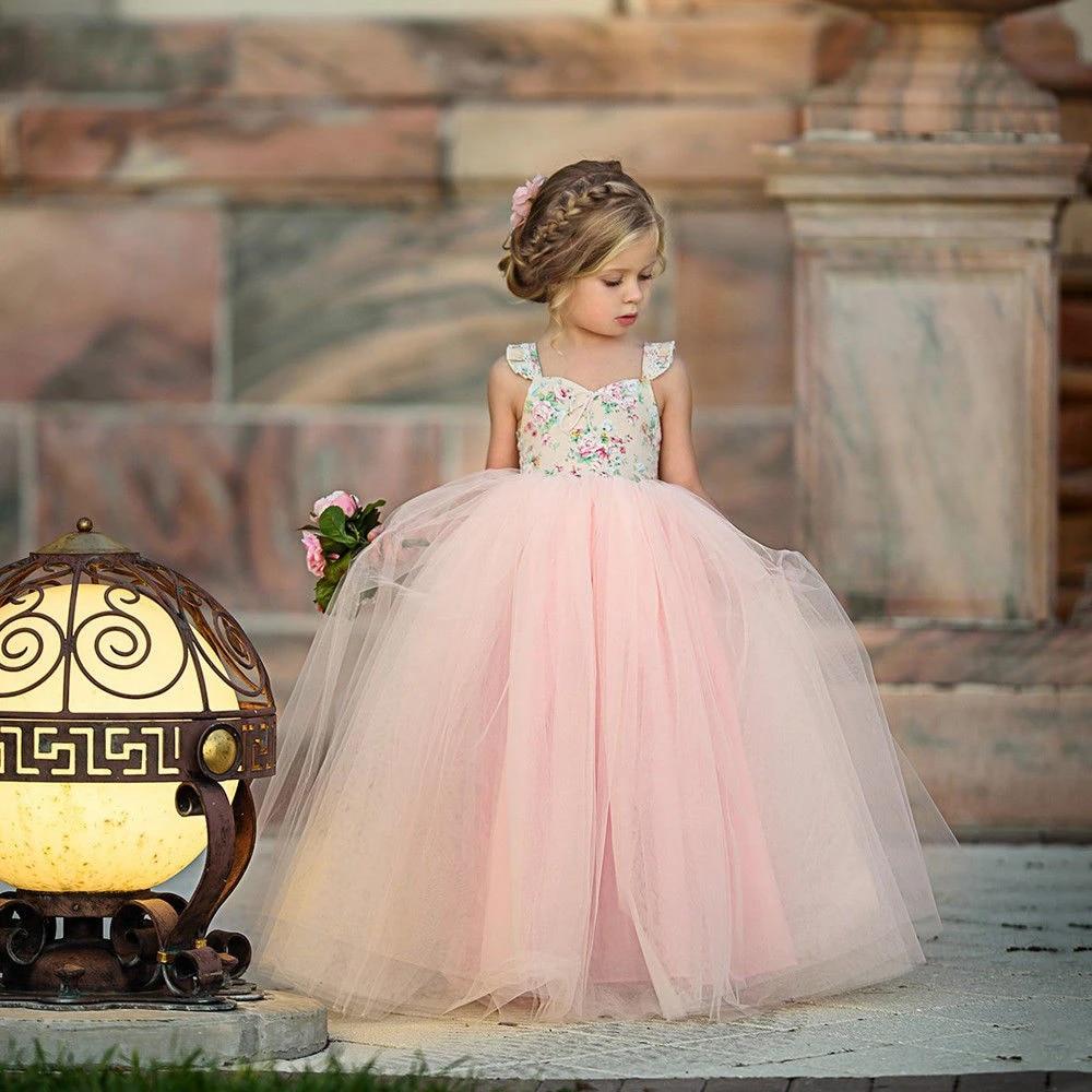 Flower Girl Kids Lace Princess Tutu Tulle Dress Wedding Pageant Party Sundress