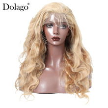 Blonde Lace Frontal Human Hair Wigs 27# Brazilian Body Wave Lace Front Wig 100% Human Hair Pre Plucked 250% Density Dolago Remy