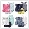 2016 девочка летняя одежда, roupa де bebe menino детской одежды 3 шт. наборы детской одежды детская одежда Жилет комбинезон