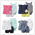 2016 ropa del verano del bebé, roupa de bebe menino infantil ropa 3 unids conjuntos ropa de niños ropa niños Chaleco mamelucos