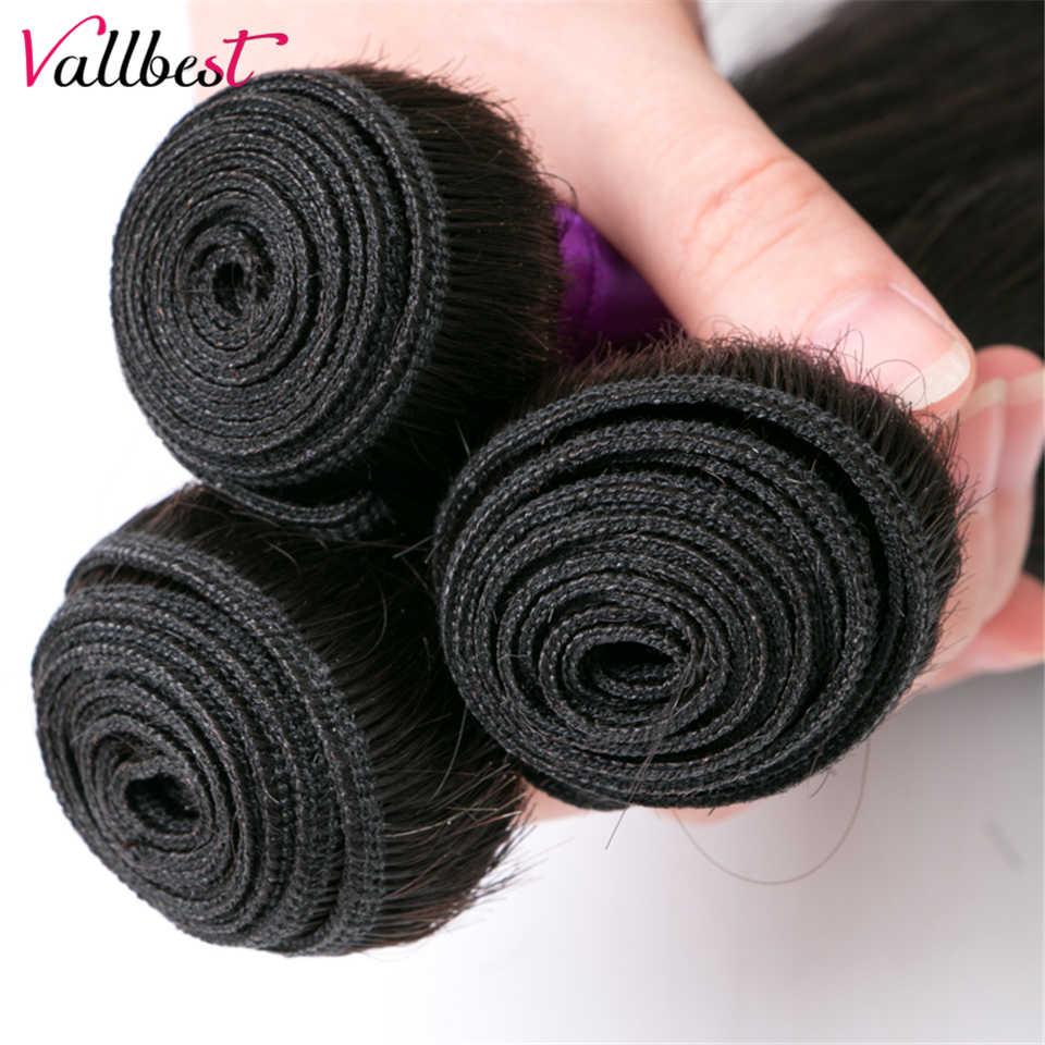 Vallbest peruano de la armadura del pelo recto 3 Paquetes de extensiones de cabello humano negro Natural 1B 3 piezas/300 g/lote suave Remy la trama del pelo
