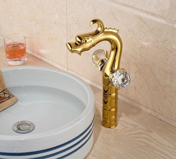 Здесь продается  Golden Brass  Dragon Countertop Barhtoom Sink Faucet  Crystal Handles Basin Mixer Faucet  Faucet Taps  Строительство и Недвижимость
