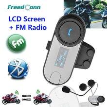 Nova versão atualizada! Freedconn T COM SC w/tela bt bluetooth capacete da motocicleta intercom fone de ouvido com rádio fm