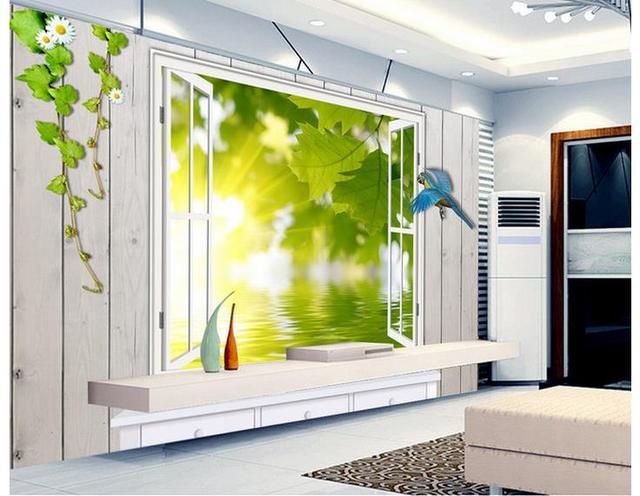 3d tapete für zimmer kulisse von grüne blätter fenster wohnzimmer 3d