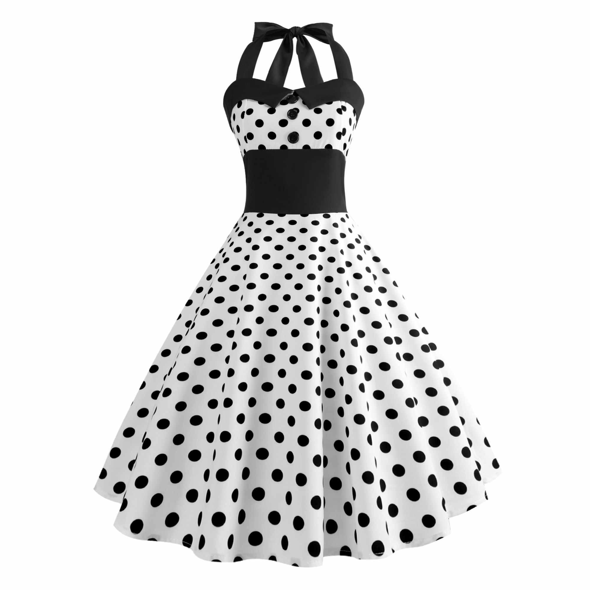 887d0eb16c91 Retro Polka Dot Dress Women Knee-Length Strapless Halter Dress 50s 60s  Gothic Robe Vintage