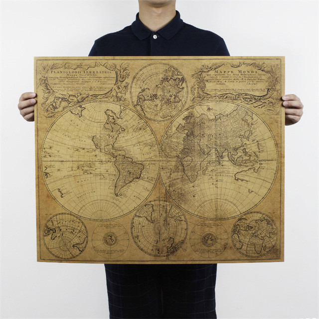 Large size world map poster nostalgic retro kraft paper poster large size world map poster nostalgic retro kraft paper poster vintage posters for living room home gumiabroncs Image collections