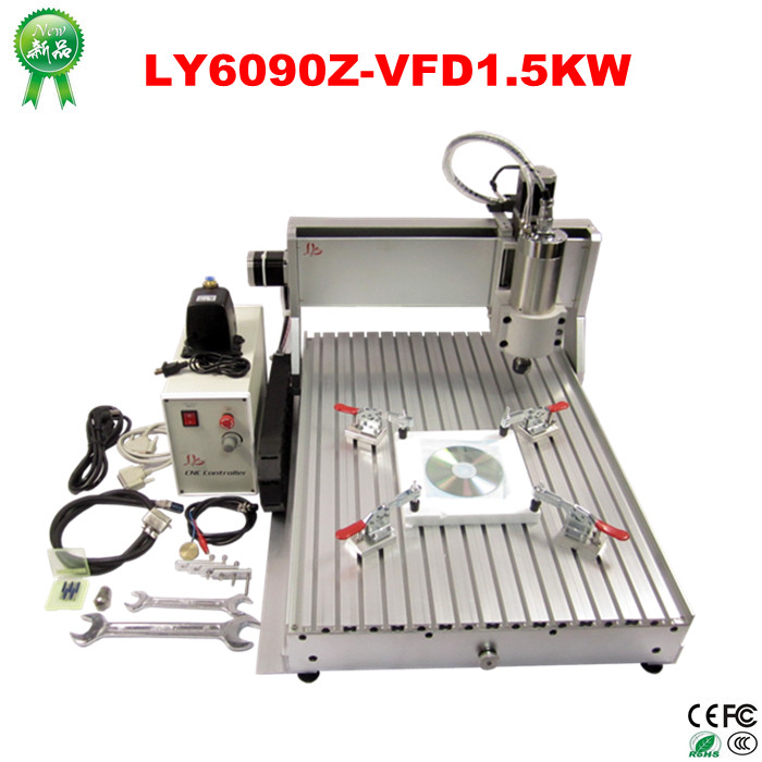 цена на cnc lathe machine 6090 1.5KW water cooling spindle 3axis metal engraving wood router for full assembled