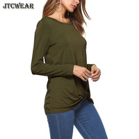 JTCWEAR Long Sleeve Solid T Shirt Women O Neck Knot T Shirts Autumn Lady Clothing Knot