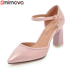 5d1196be125e Smirnova big size 34-46 2018 new hot sale high heels shoes thick high heels  pointed toe ankle strap pink black women pumps