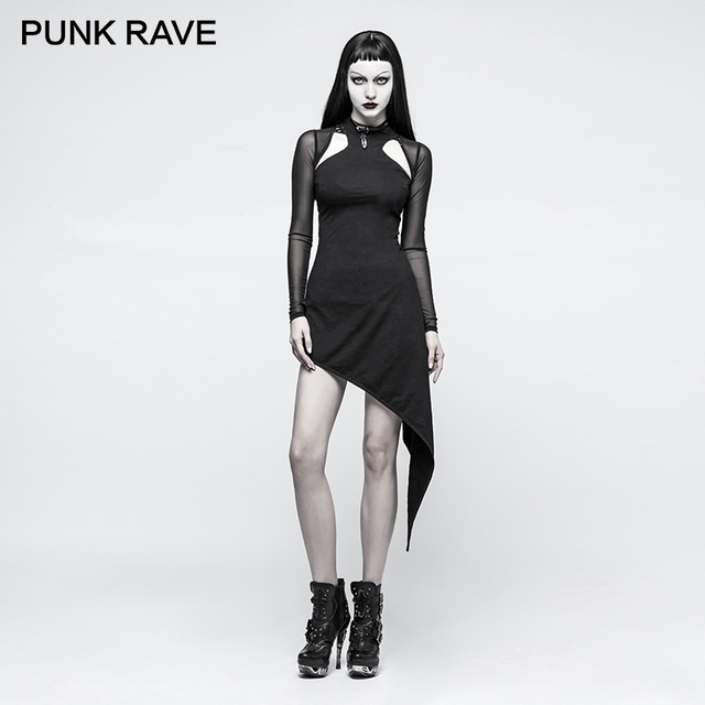 Punk Rave 2017 Gothic Asymmetrical Club Rock Dress Hollow Out Shoulder Sching Mesh Long Sleeves