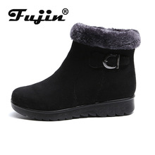 Fujin 2019 New Winter Female Snow Boots Dropshipping Warm Softsole Cotton Flannel Shoes Comfortable Slip Proof Leisure