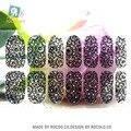Y5405 2016 Nuevo Diseño Negro Llena Del Cordón Transparente Adhesivo Nail Art Stickers Decoración Colorida Rinestones Envolturas de Uñas Calcomanía