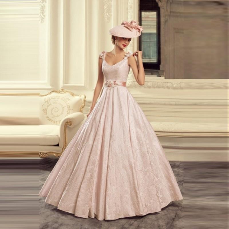 light pink puffy una lnea de cuello en v vestidos largos de la boda retro de