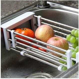 Adjustable Stainless Steel Kitchen Sink Drain Fruit Corner Bracket