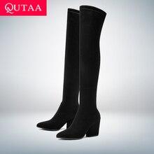 QUTAA г. Женские Сапоги выше колена зимняя обувь на толстом каблуке пикантные женские сапоги из эластичной ткани с острым носком размеры 34-43