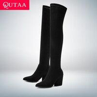 QUTAA 2020 Vrouwen Over De Knie Hoge Laarzen Hoof Hakken Winter Schoenen Wees Teen Sexy Elastische Stof Vrouwen Laarzen Maat 34-43