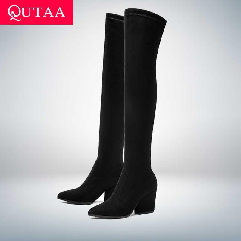 QUTAA Üzerinde 2020 Kadın Diz Yüksek Çizmeler Tırnak Topuklar Kış Ayakkabı Sivri Burun Seksi Elastik Kumaş Kadın Çizmeler Boyutu 34-43