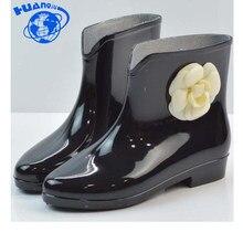 284ffddc02b HUANQIU Moda Botas de Chuva Plana À Prova D  Água Com Sapatos de Mulher  Mulher