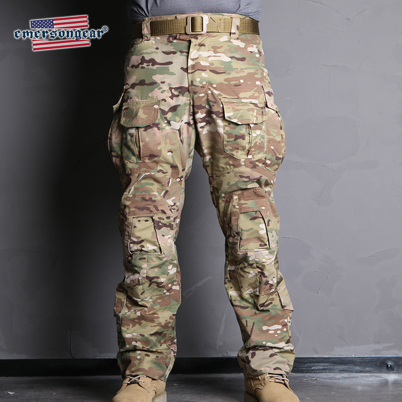 Emersongear Emerson Blue Label G3 Camo Calças de Combate Tático Militar de Nylon Calças Mens Calças Da Carga de Treinamento Dever w Joelheiras
