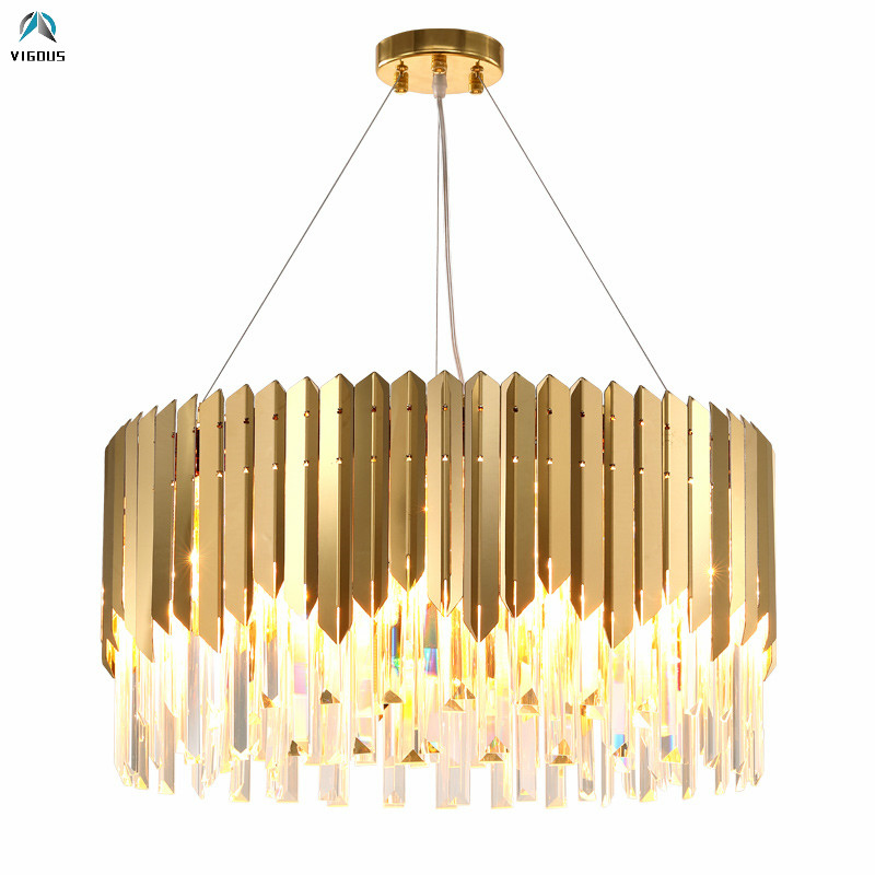 Luxury Living Room Plate Gold 304 Steel Led Pendant Lights Lustre K9 Crystal Hanging Lamp Luminaria Led Suspend Lamp Led Lampras k9 puppy gold