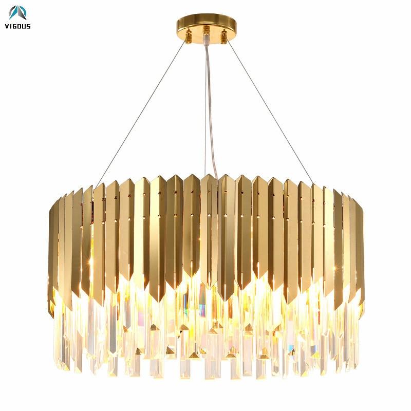 Luxury Living Room Plate Gold 304 Steel Led Pendant Lights Lustre K9 Crystal Hanging Lamp Luminaria Led Suspend Lamp Led Lampras