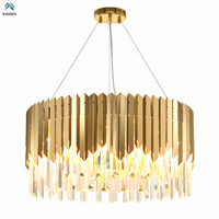 Luxury Living Room Plate Gold 304 Steel Led Pendant Lights Lustre K9 Crystal Hanging Lamp Luminaria Led Suspend Lamp Led Lampras