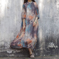 SERENELY 2016 New Summer Dresses Loose Vintage Print Stand Collar Plate Buttons Faux Two Piece Dress Chinese Cheongsam Robe S103