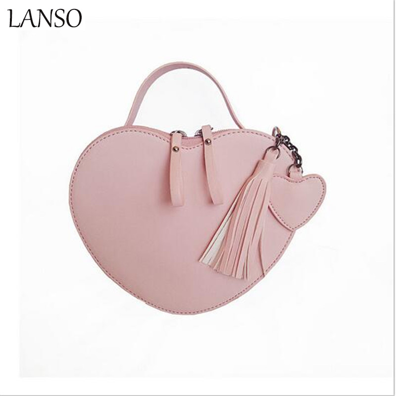 Fashion Girls Sweet Peach Heart Bag Female New Design Tide Spring Popular Tassel Handbag Casual All-Match Shoulder Messenger Bag коннектор gardena 1 2 18215 29 000 00