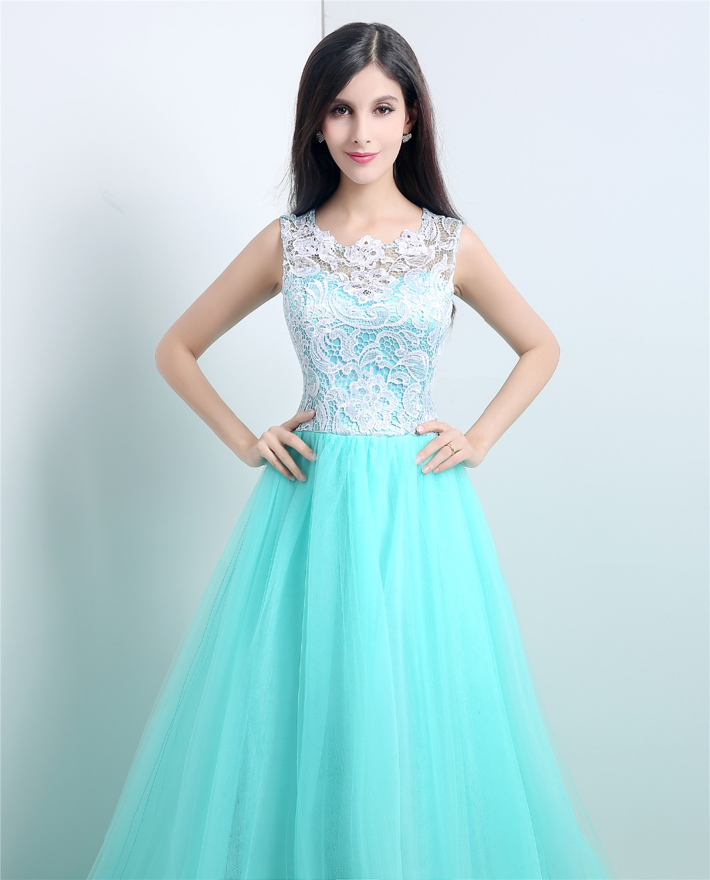 a3d307f00874f Beautiful Tulle Prom Gowns Under $100 Lace Top Buttons Sweep Train ...