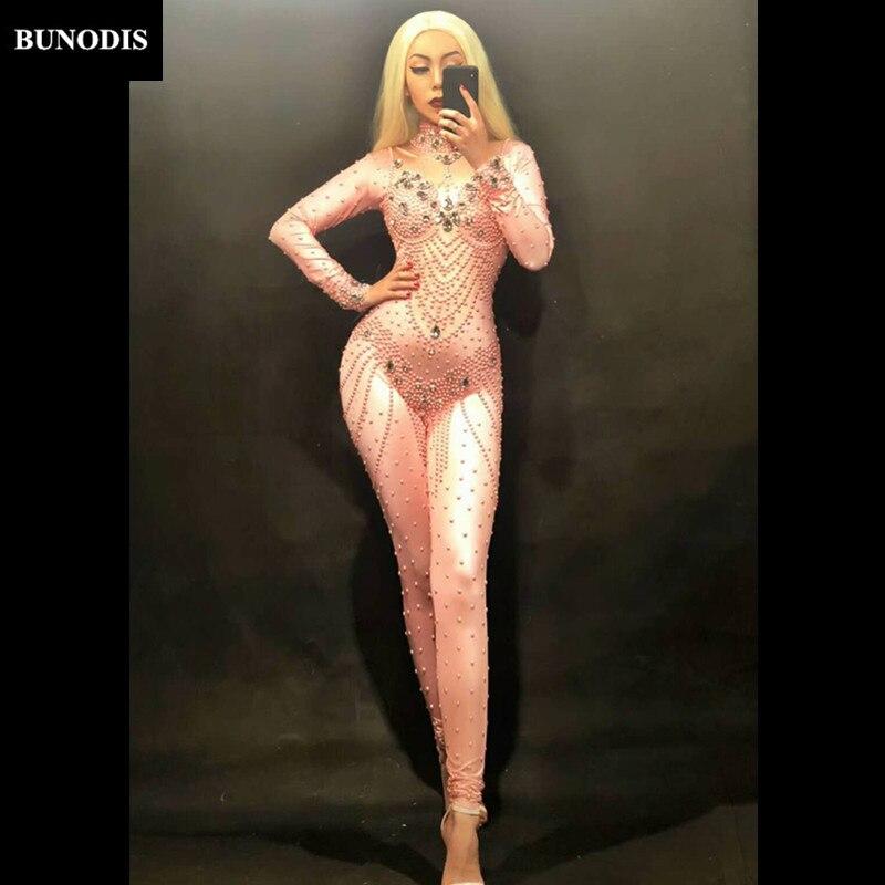 Bu22501 Femmes Costumes Salopette De Mousseux Verre Rose Performance Porter Cristaux Couleur Stage Parti Sexy Argent Discothèque Body grIx6qndgw
