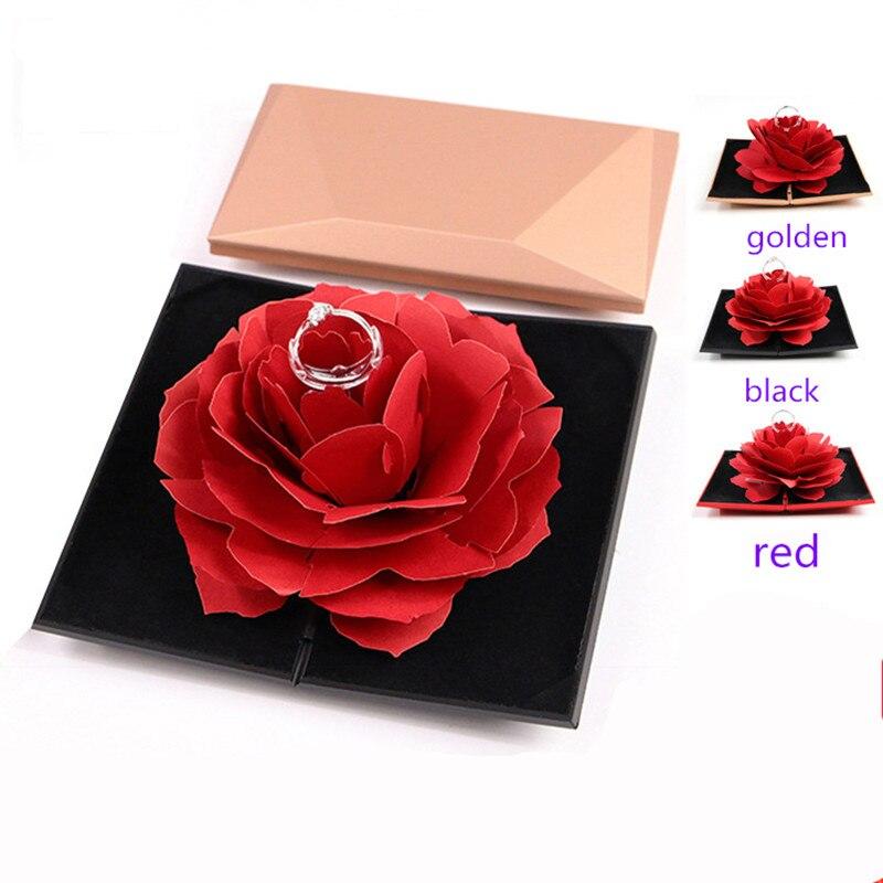 3D Pop Up Red Rose Flower Ring Box Wedding Engagement Jewelry Storage Holder Case