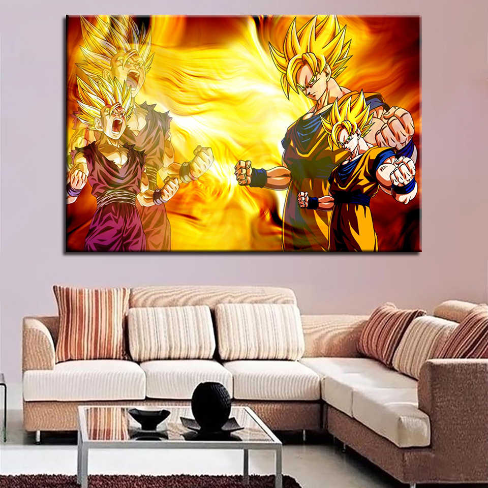 For Kids Room Home Decor Wall Artwork Modern Animation Dragon Ball 1 set Quotes Canvas HD Painting Print Poster Modular Pictures