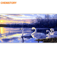 CHENISTORY Large Size 60x120cm Frame DIY Painting By Numbers Swan Sunset Animals Acrylic Paint By Numbers For Living Room Decors(China)