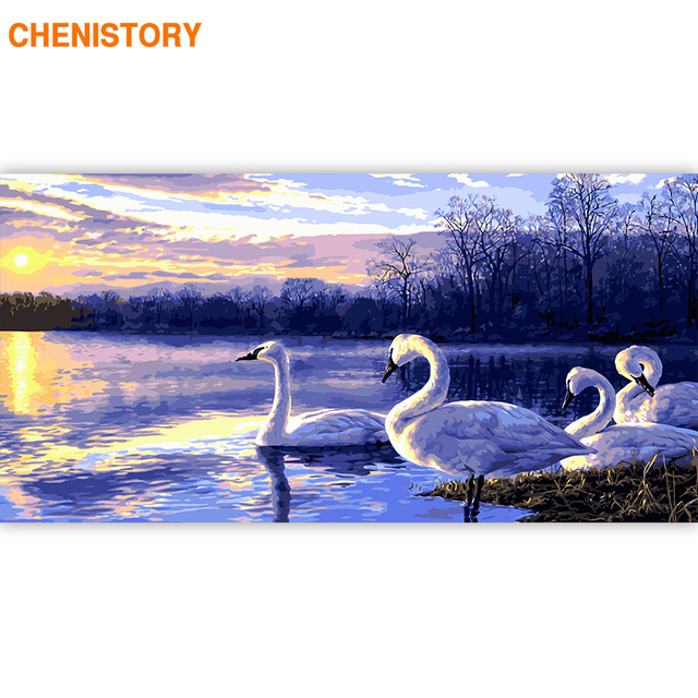 CHENISTORY Large Size 60x120cm Frame DIY Painting By Numbers Swan Sunset Animals Acrylic Paint By Numbers For Living Room Decors