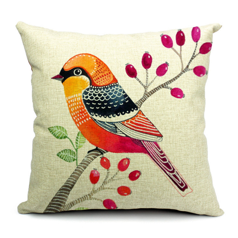 Rubihome Cushion Cover Design Print Animals Birds Decorative Throw Pillows Parrot Feather Sofa