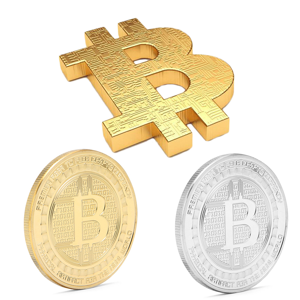 Wholesale Gold Plated Bitcoin Coin Collection Souvenir BTC Coin Art antique imitation Festival Gift For Home party decoration