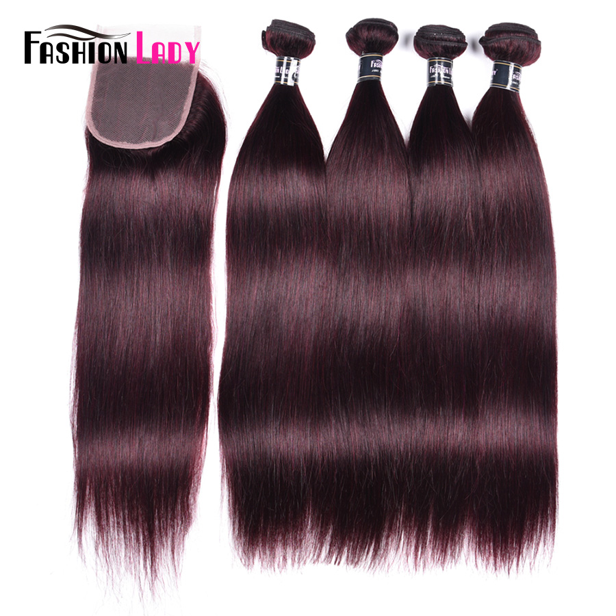 Fashion Lady Pre-colored Peruvian Hair Bundles With Closure 4 Bundles Straight Hair Dark Purple Bundles With Closure Non-remy