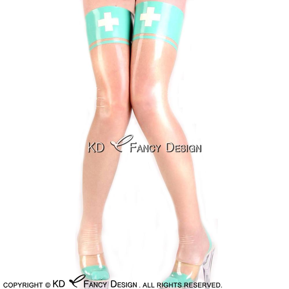 Transparent With Jade Green Sexy Long Latex Stockings With White Cross Decoration Rubber Thigh high stockings WZ-0028