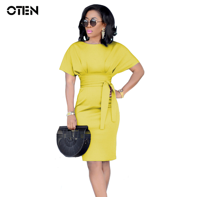 OTEN robe crayon Women Sexy Summer Short Sleeve O Neck Tunic Elegant Working Business Office Bodycon Pencil dress for Ladies