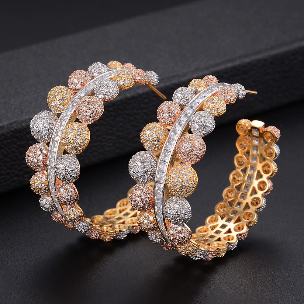 46mm Famous Brand Round Circle Geometry CZ Drop Dangle Long Earrings For Women Wedding Bridal Jewelry ksitex f 1800 w