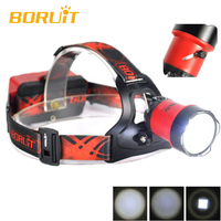 BORUiT B13 Cree XM L2 LED Headlamp Rechargeable Camping Headlight Lamp Torch Rechargeable Linterna Frontal Red