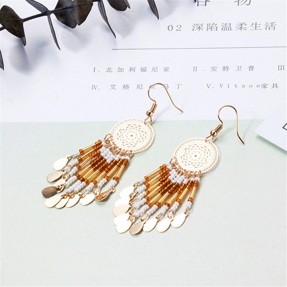 Fashion Bohemian Long Tassel Boho Crochet Boucles D/'oreilles Goutte Dangle cadeau pour femmes